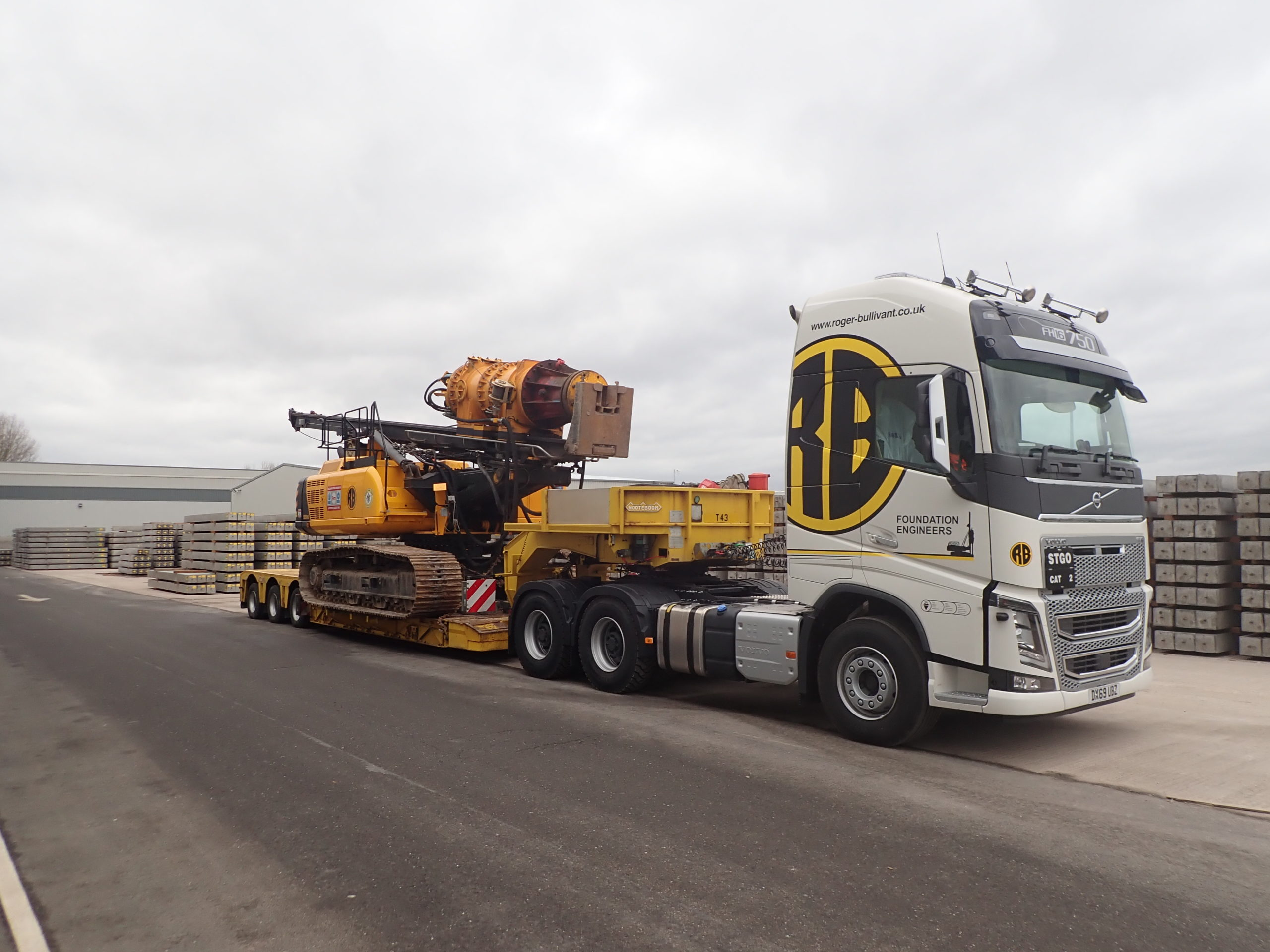 Piling Rig on Roger Bullivant Low Loader